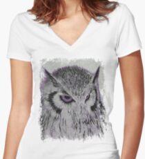 Violet Owl Women's Fitted V-Neck T-Shirt