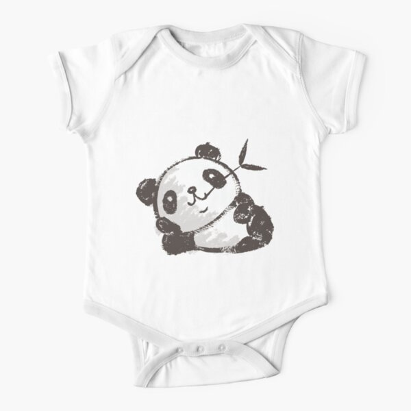 Panda that is relaxing Short Sleeve Baby One-Piece