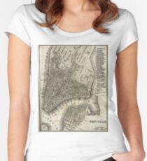 Camiseta entallada de cuello redondo Vintage Map of New York City (1842)