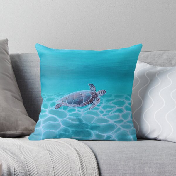 Turquoise Ocean Turtle Throw Pillow