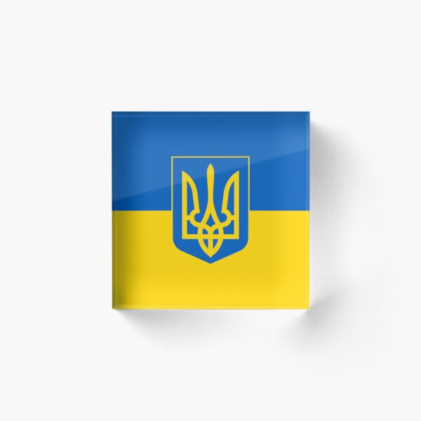 Ukraine Flag with Coat of Arms Acrylic Block