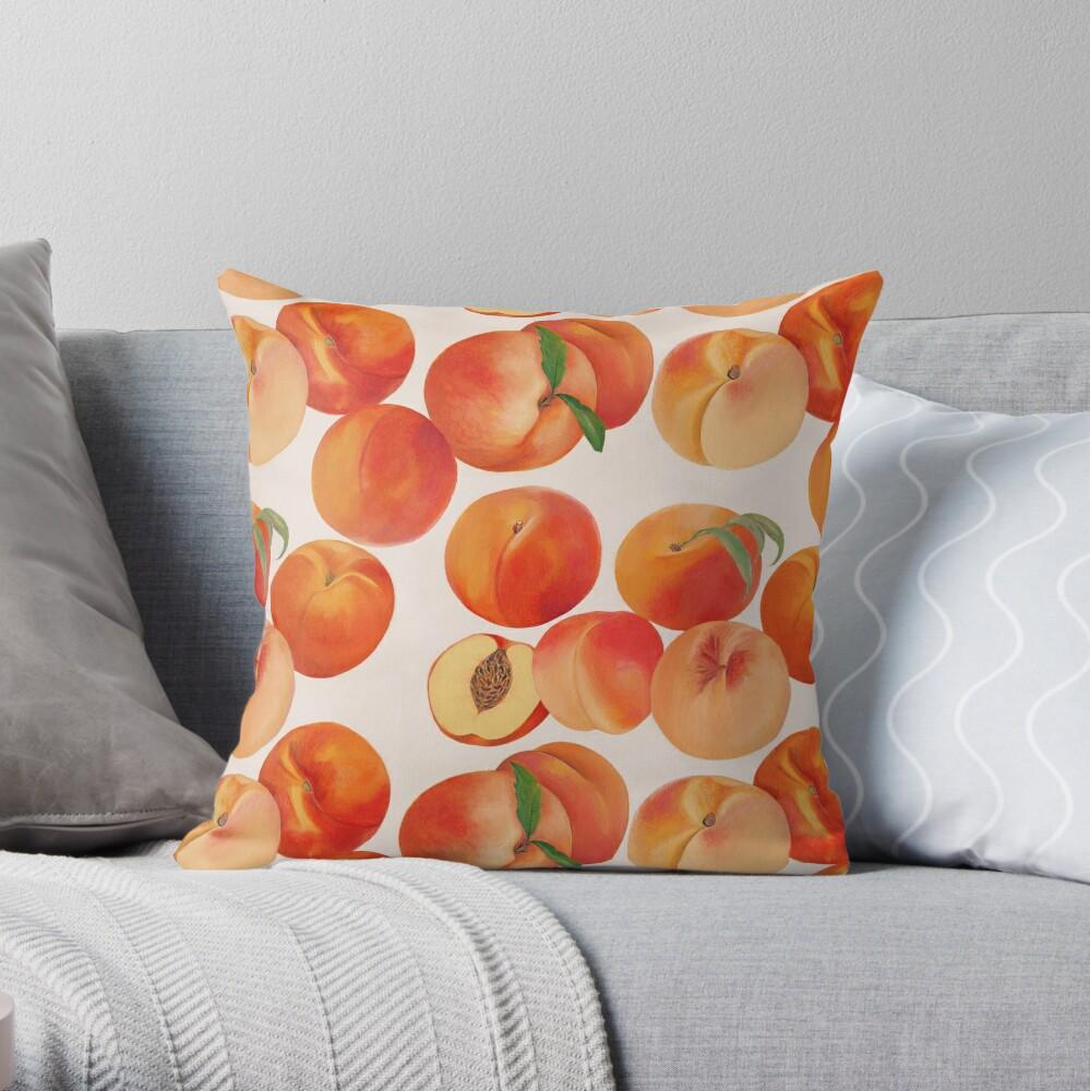Peaches, Nectarines, Tropical Fruit Throw Pillow