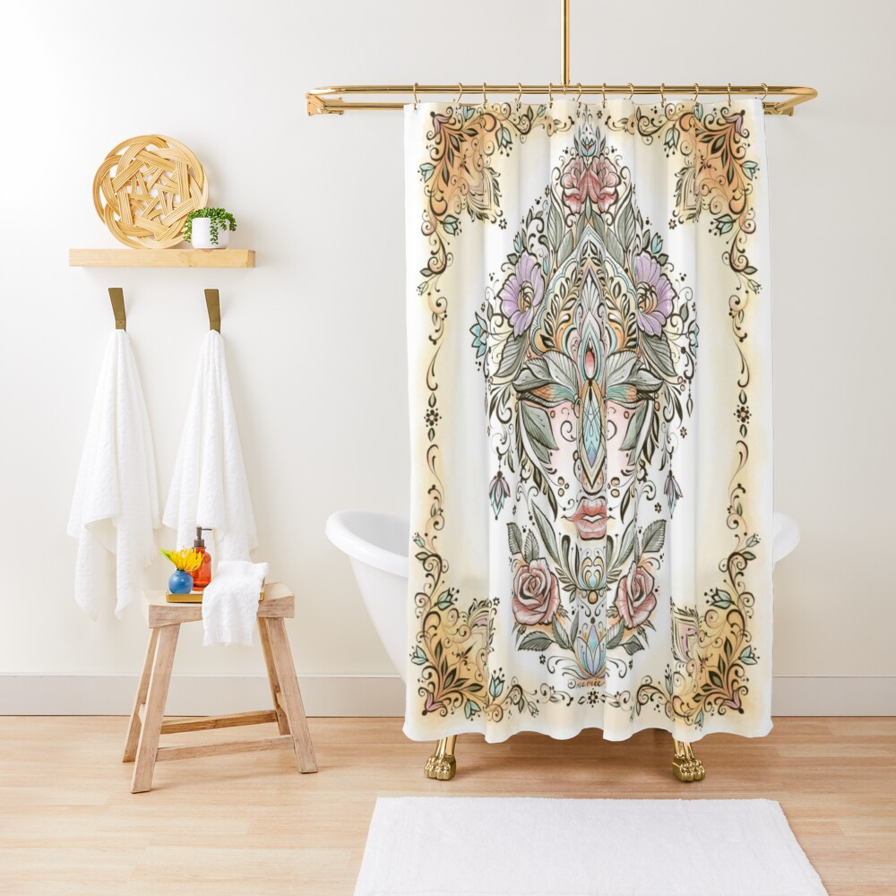 Dreamie's Green Goddess Colored Shower Curtain