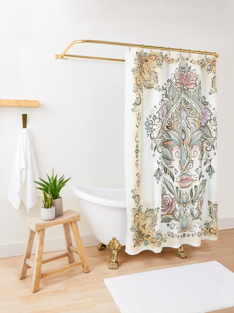 Alternate view of Dreamie's Green Goddess Colored Shower Curtain