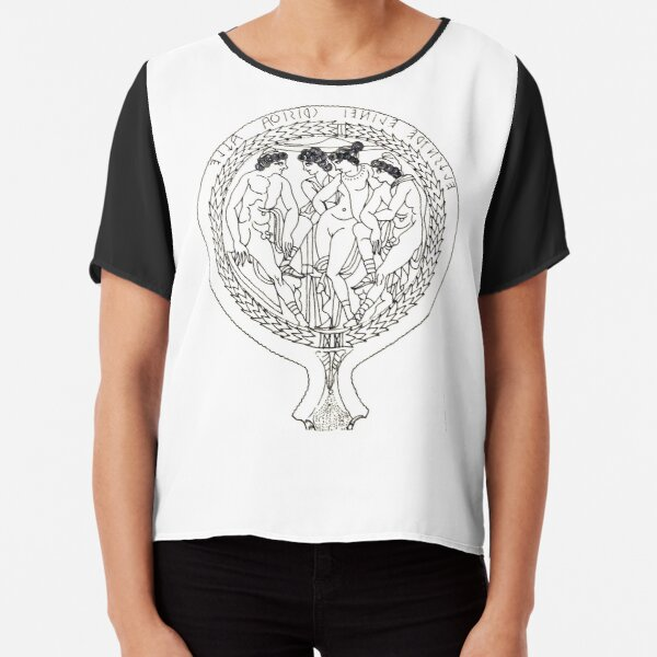 Drawing of an Etruscan Bronze Mirror with a Scene from the Trojan War in the Metropolitan Museum of Art Chiffon Top