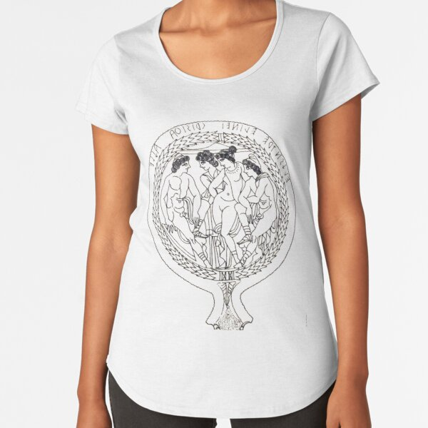 Drawing of an Etruscan Bronze Mirror with a Scene from the Trojan War in the Metropolitan Museum of Art Premium Scoop T-Shirt
