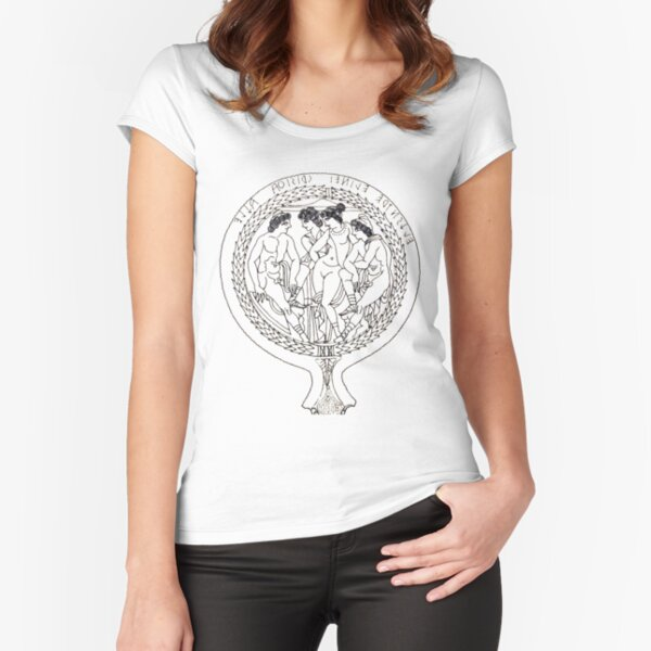 Drawing of an Etruscan Bronze Mirror with a Scene from the Trojan War in the Metropolitan Museum of Art Fitted Scoop T-Shirt