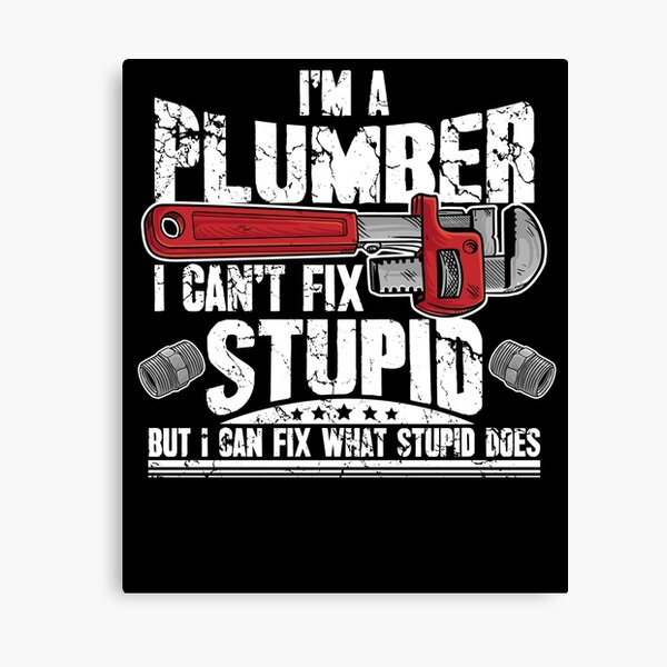 I'm a plumber I can't fix stupid but I can fix what stupid does Canvas Print