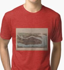 Camiseta de tejido mixto Vintage Map of New York City (1905)