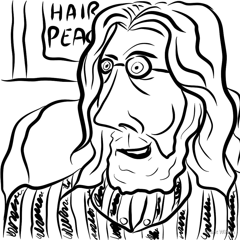 Hair Peace: Digital John Lennon Caricature by Grant Wilson