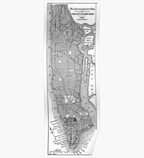 Póster Vintage Map of New York City (1811)