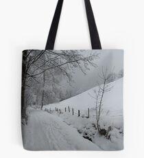 Snowy path near Thumersbach Tote Bag