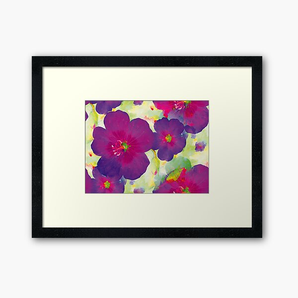CRANESBILL GERANIUM WATERCOLOR in PURPLE Framed Art Print