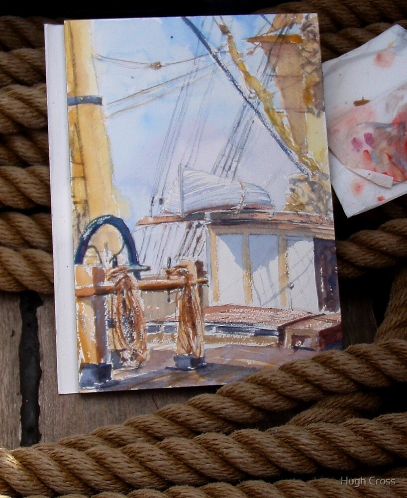 """Deckhouse of the Barque """"James Craig"""" in watercolour by Hugh Cross"""