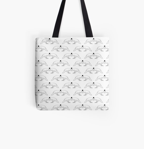 Crows in Love All Over Print Tote Bag