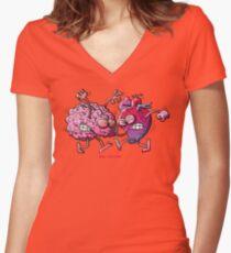 Heart vs Brain Women's Fitted V-Neck T-Shirt