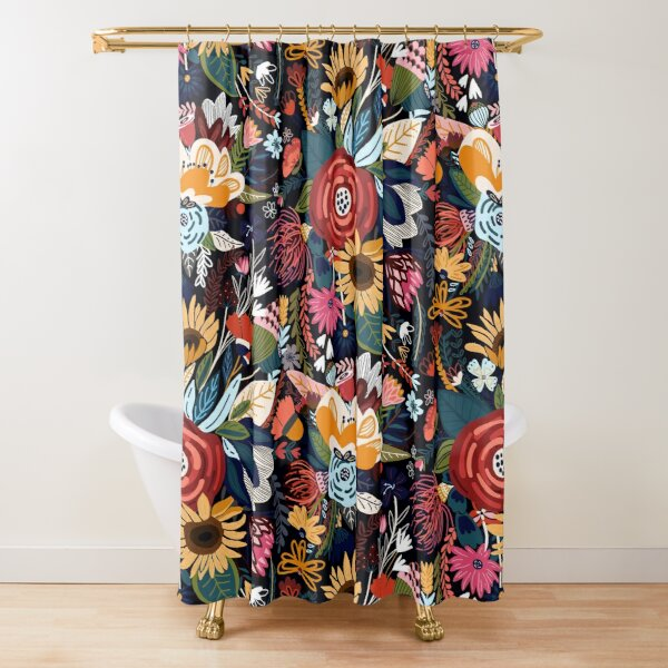 Popping Moody Floral  Shower Curtain