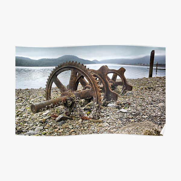 Abandoned wheel on the beach Poster