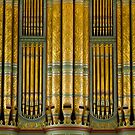 Green and gold organ pipes by Jenny Setchell