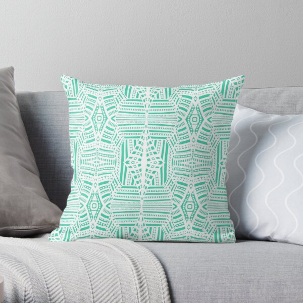 Geometric Lace - White on Minty Green Throw Pillow