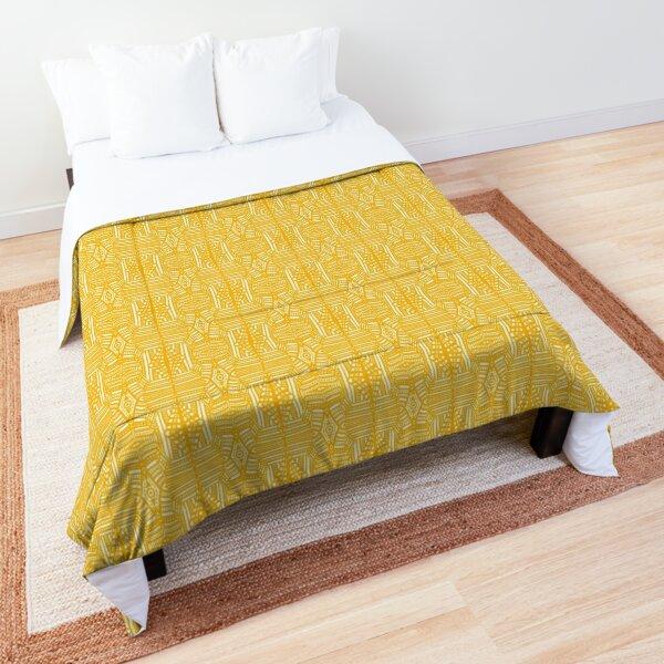 Geometric Lace - Saffron Yellow on White Comforter