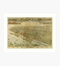 Vintage Pictorial Map of Galveston TX (1885) Art Print