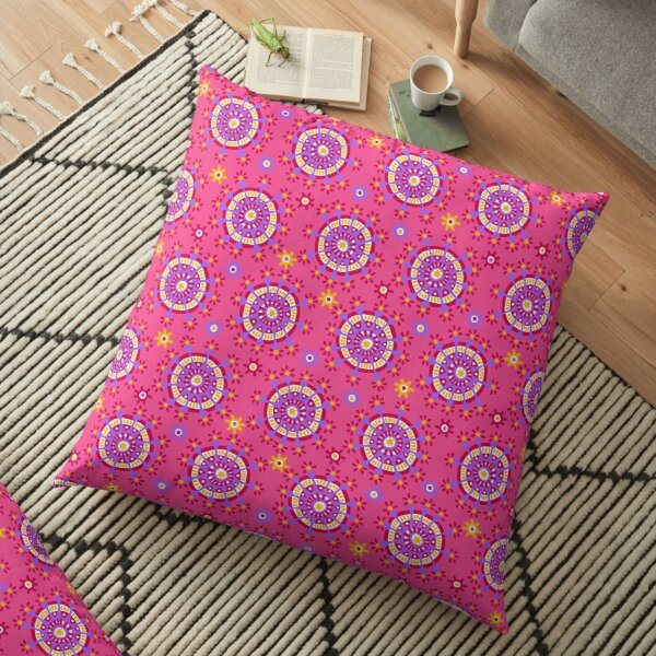 Happy Colorful Dots on Carnation Pink Floor Pillow