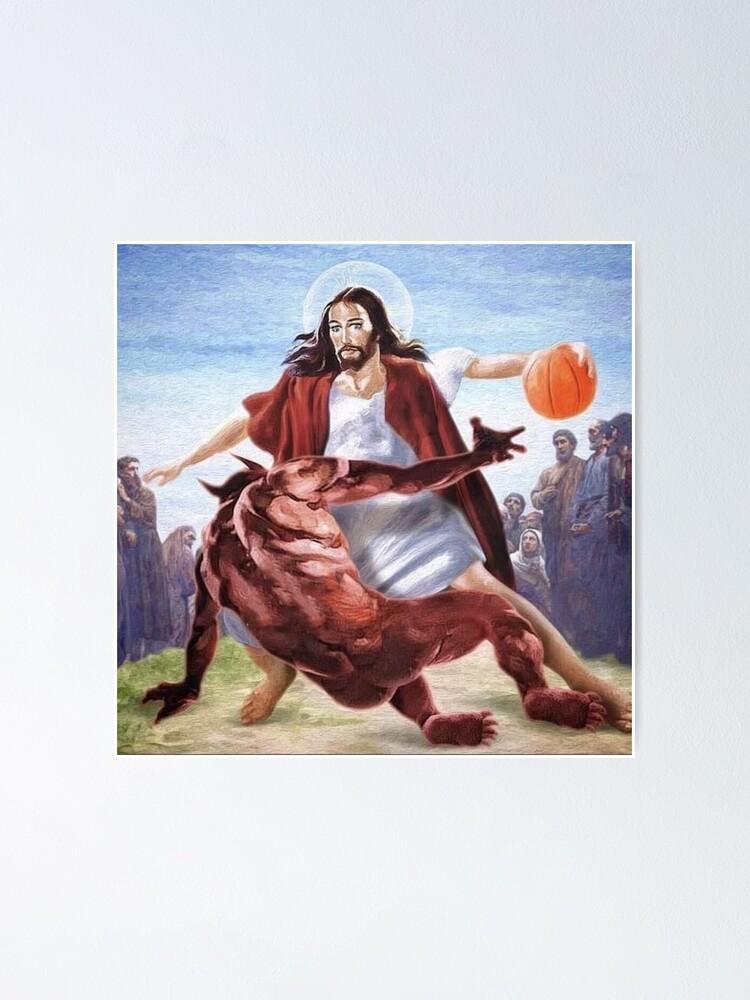 Alternate view of Jesus vs Satan in Basketball Poster