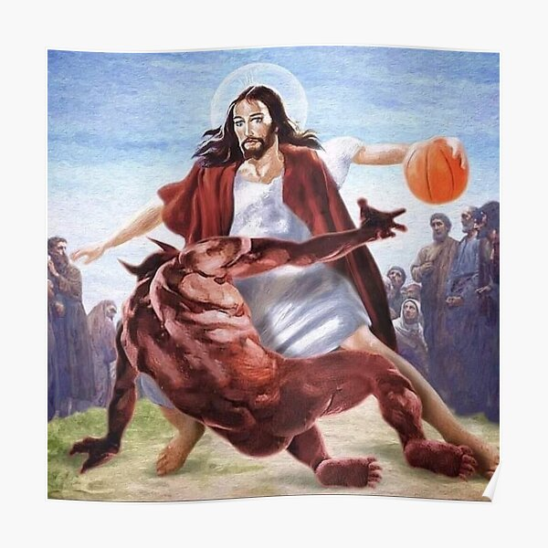 Jesus gegen Satan im Basketball Poster