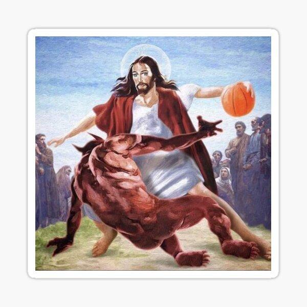 Jesus vs Satan in Basketball Sticker