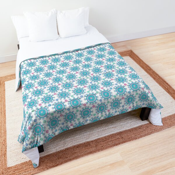 Happy Colorful Dots on White Comforter