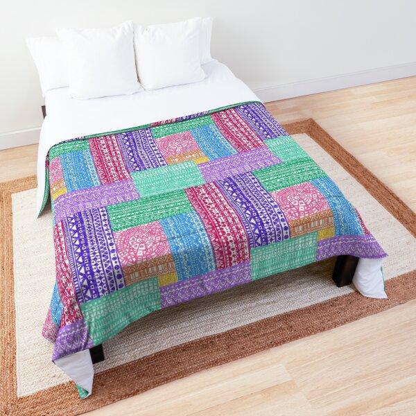 "Boho Lacy Patchwork - Multicolor - with ""burlap"" texture Comforter"