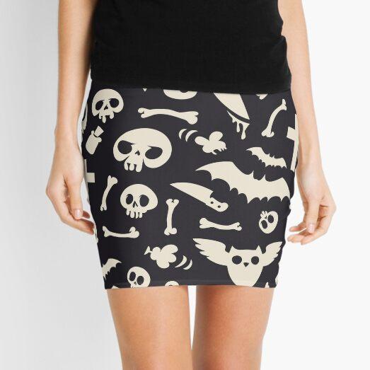Halloween Symbols Pattern Contrast Mini Skirt