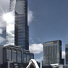 Eureka Tower and the Southbank footbridge by Norman Repacholi