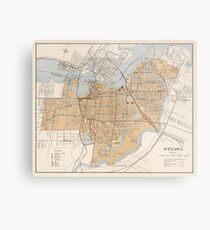 Vintage Map of Ottawa Canada (1915) Metal Print