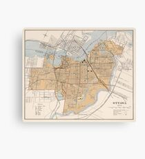 Vintage Map of Ottawa Canada (1915) Canvas Print