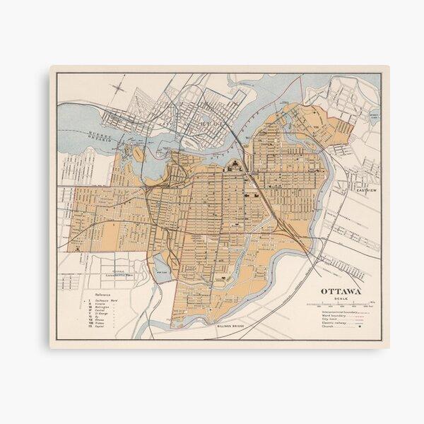 Vintage Map of Ottawa Canada (1915) Canvas Print