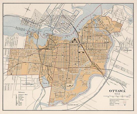 Vintage Map of Ottawa Canada (1915) by BravuraMedia