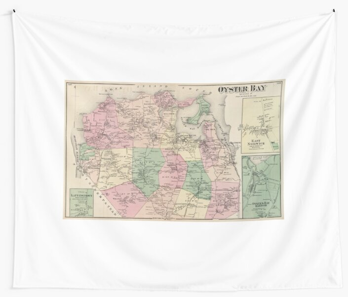 Oyster Bay New York Map.Vintage Map Of Oyster Bay New York 1873 Wall Tapestries By