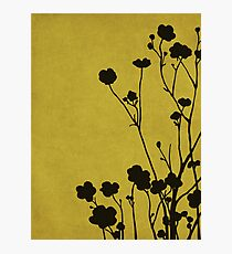 Buttercups in Mustard & Gray Photographic Print