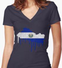 El Salvador Paint Drip Women's Fitted V-Neck T-Shirt
