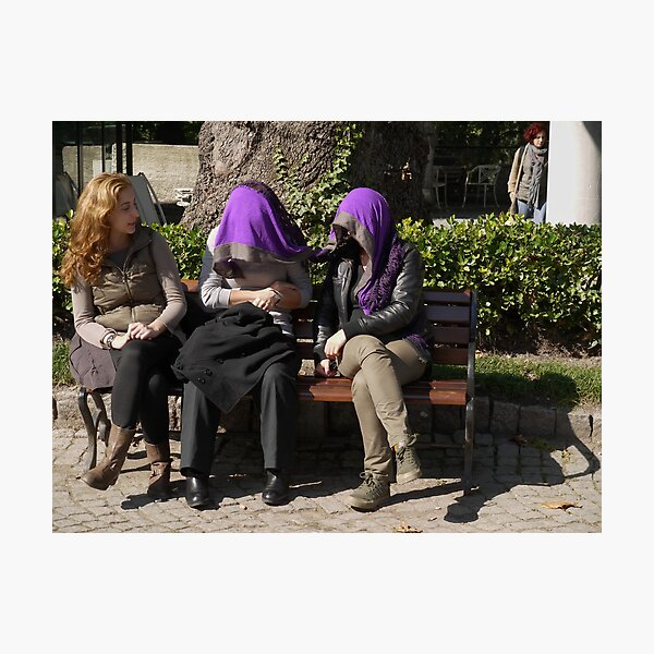 People in Istanbul - Sharing a shawl Photographic Print