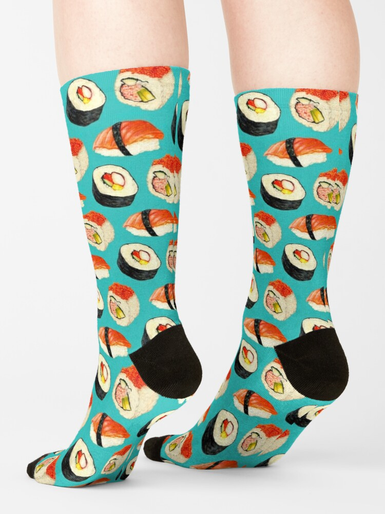 Alternate view of Sushi Pattern - Blue Socks