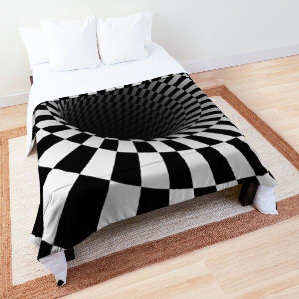 black and white optical illusion Comforter