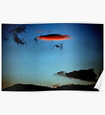 UFO over Sicily sky made by clouds. And Sphinx outline. Poster