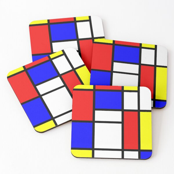 Mondrian. Red, Blue, Yellow, Abstraction, Art. Coasters (Set of 4)