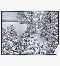 Abandoned and Forgotten - A Dilapidated Fishing Vessel Surrounded by Snowy Pine Trees near a Frozen Lake Poster