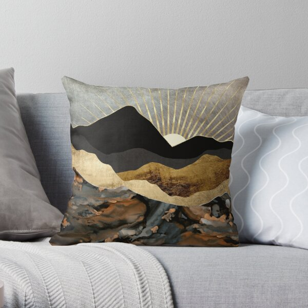 Copper and Gold Mountains Throw Pillow