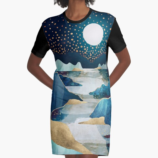 Moon Glow Graphic T-Shirt Dress
