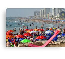 Israel, Tel Aviv, A sunny day on the beach Looking north from south Canvas Print